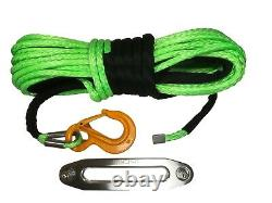 100 ft 11mm Green Synthetic Winch Rope & Hawse UHMWPE Self recovery 4x4
