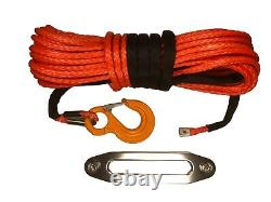 100ft 10mm Synthetic Orange Winch Rope, Hawse & Hook, UHMwPE self recovery 4x4