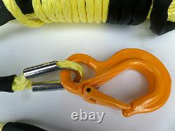 100ft 11mm Yellow Synthetic Winch Rope, & Hook 11800KG UHMPWE self recovery 4x4