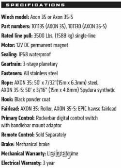 101130 Warn Axon 35-S Powersport UTVATV Electric Winch w 50ft Synthetic Rope