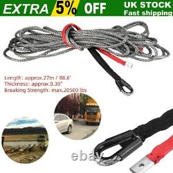 10mm Nylon Synthetic Winch Rope Line Cable 20500 LBS for SUV ATV Heavy Duty