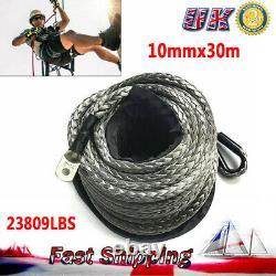 10mmx30m Gray Synthetic Winch Rope high molecular polyethylene ATV Winch Kit DE