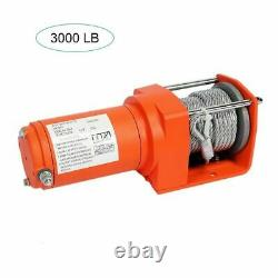 12v Electric Winch 3000lb Dyneema Synthetic Rope ATV, Off Road
