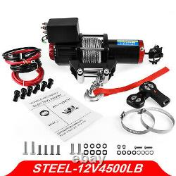 12v Electric Winch, 4500lb Synthetic Rope, Heavy Duty 4x4, ATV Recovery