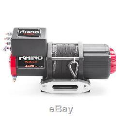 12v Electric Winch, 4500lb Synthetic Rope, Heavy Duty 4x4, ATV Recovery RHINO