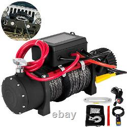 13500LBS 12V Electric Synthetic Rope Winch Single Line 4-Way Remote Control