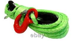 28m 10mm 13500 Lbs Green Synthetic Winch Rope With Hook Wire 4x4 Uhmpe