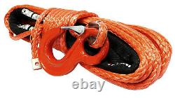 28m 10mm 13500 Lbs Red Synthetic Winch Rope With Hook Wire 4x4 Uhmpe