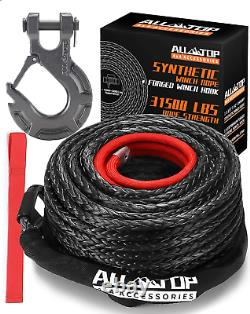 ALL-TOP Synthetic Winch Rope Cable Kit 1/2 x 92 ft 31500LBS Winch Line with +