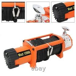Electric Recovery Winch 12V 13500lb Heavy Duty Synthetic Rope 27m (85 ft) 9.5mm