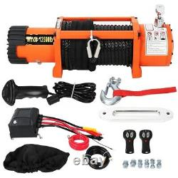 Electric Recovery Winch 12V 13500lb Heavy Duty Synthetic Rope 27m 9.5 mm