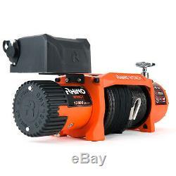 Electric Recovery Winch 12v 13500lb, Heavy Duty 4x4 Dyneema Synthetic Rope RHINO