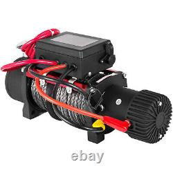 Electric Synthetic Rope Winch 13500LBS 12V 6123.5Kg Gear Train Roller Fairlead