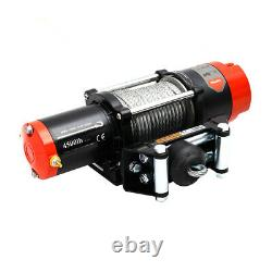Electric Winch 12V 4500lb Synthetic Rope Vehicle Recovery Fairlead Rollers