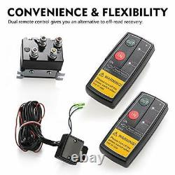 FIERYRED 12V 4500LBS Electric Synthetic Rope ATV Winch Kits for Towing ATV/UT