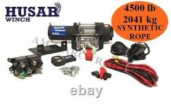 HUSAR Electric Winch Recovery 12V SYNTHETIC ROPE 4500 LB OFF ROAD 2041kg