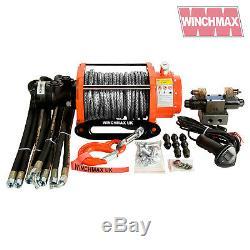 HYDRAULIC WINCH 10000 lb WINCHMAX ORIGINAL ORANGE WINCH + DYNEEMA SYNTHETIC ROPE