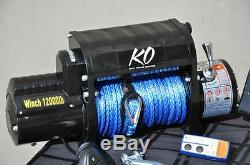 KO Offroad 12,000 Winch Wireless Remote Synthetic Rope 85' Hawse Fairlead Hook