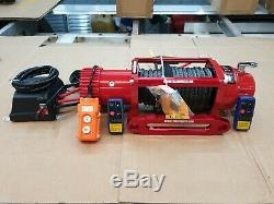 RECOVERY TRUCK WINCH 12V RED WINCH WITH GREY SYNTHETIC ROPE @ £325.00 inc vat