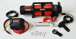 Raptor 4x4 Tyrex 12000lb Winch Synthetic Rope'Black Edition' Recovery Off Road