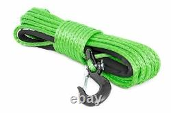 Rough Country Synthetic Winch Rope Green Clevis Hook3/8 x 85 FT 16,000LBS