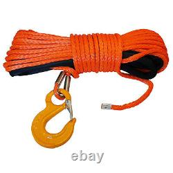 SYNTHETIC WINCH ROPES with SAFETY HOOK 12mm x 28 metre offroad recovery 4 x 4
