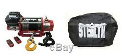 Stealth 13000lb 12v Electric Winch With Synthetic Rope & Wireless Remote & Cover