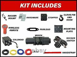 SuperATV Synthetic Rope 3500 lb. UTV/ATV Black Ops Winch Kit With Wireless Remote