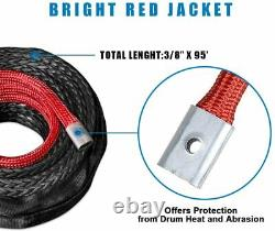 Synthetic Winch Rope, 3/8 x 85' 25000 Ibs Durable Winch Line Cable Rope, 85FT