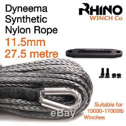 Synthetic Winch Rope, Hawse 11.5mm x 100ft, Recovery Accessory RHINO WINCH