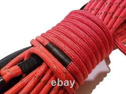 Synthetic Winch Rope Line Cable 3/8 x 100' 30,000 LB Capacity RED