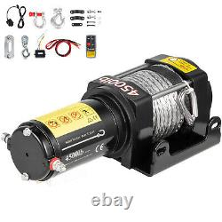 VEVOR Electric Winch 4500LBS 12V Synthetic Rope 4WD ATV UTV Winch Towing Truck