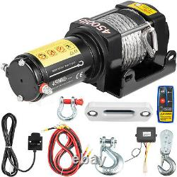VEVOR Electric Winch, 4500LBS 12V Synthetic Rope 4WD ATV UTV Winch Towing Truck
