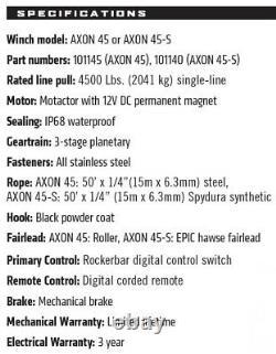 WARN AXON 45-S ATV/UTV Winch with 50 x 1/4 Spydura Synthetic Rope