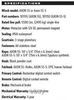 Warn AXON 55-S 5500 12V Winch Synthetic Wire Rope Offroad ATV UTV SXS 4 Wheeler