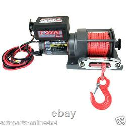 Warrior C2000 NINJA 12v Winch with Red Armortek Synthetic Rope