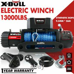 X-BULL 12V 13000LBS Electric Winch Synthetic Rope Jeep Towing Truck Off Road