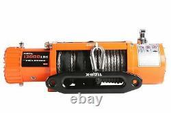 X-BULL 12V Waterproof Synthetic Rope Winch-13000 lb. Load Capacity IP67 Orange