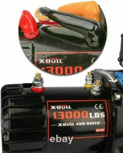 X-BULL 13000LBS 12V Electric Winch Synthetic Rope Jeep Towing Truck Off Road 4WD