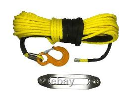 100ft 11mm Yellow Synthetic Winch Rope Hawse & Hook Auto-récupération Qualité Uhmwpe