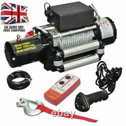 12v Treuil Électrique, 13000lb Corde Synthétique, Robuste 4x4, Récupération Vtt