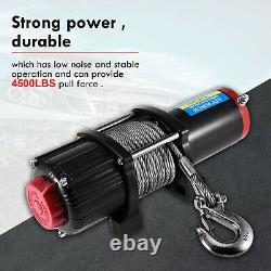 12v Treuil Électrique, 4500lb Corde Synthétique, Lourd 4x4, Récupération De Vtt