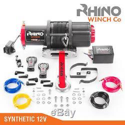 12v Treuil Électrique, 4500lb Corde Synthétique, Robuste 4x4, Récupération Vtt Rhino