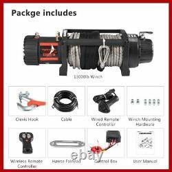 13000lb 12v Electric Winch Offroad Avec Télécommande De Corde Synthétique Pour Suv De Voiture