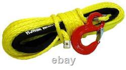 28m 10mm 13500 Lbs Rope De Treuil Synthétique Jaune Avec Fil De Crochet 4x4 Uhmpe