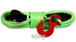 28m 10mm 13500 Lbs Vert Synthétique Corde De Treuil Avec Fil De Crochet 4x4 Uhmpe