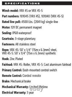 Avertir Powder Coat Vrx 45-s Powersport 4500 Lb. Capacité Steel Rope Winch