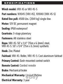 Avertir Vrx 45-s 4500 12v Treuil Corde De Fil Synthétique Offroad Vtt Utv Sxs 4 Wheeler