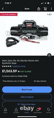 Avertissez Zeon 10s 12v Electric Winch Avec Synthetic Rope