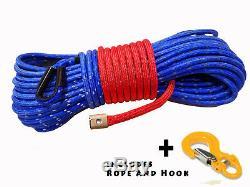 Corde Treuil Synthétique Ligne Bleu Câble 7/16 X 100' 30000 Lb Avec Garde Rock